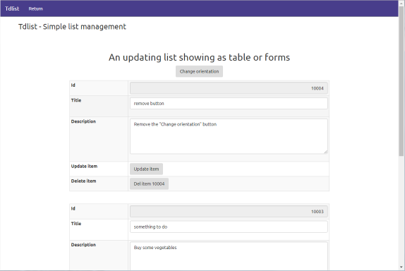 Demo app : Simple list forms